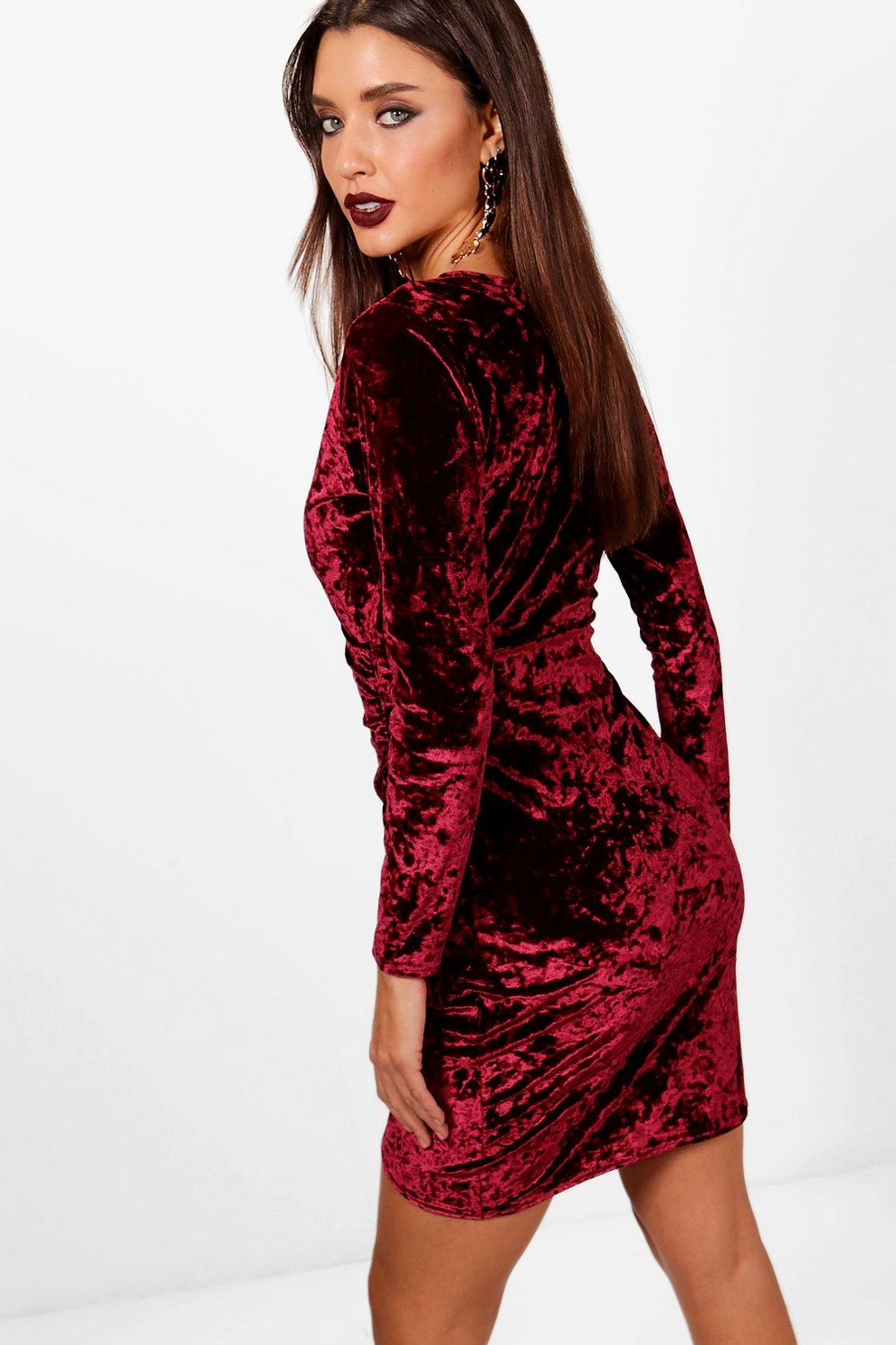 e73b358725771 Womens Berry Velvet Long Sleeve Wrap Bodycon Dress