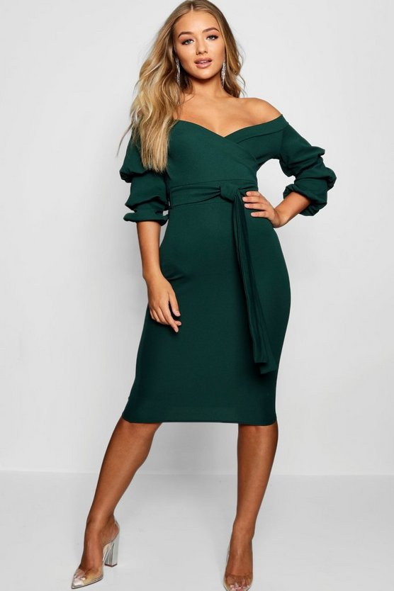 Womens Evergreen Off the Shoulder Sleeve Detail Midi Dress
