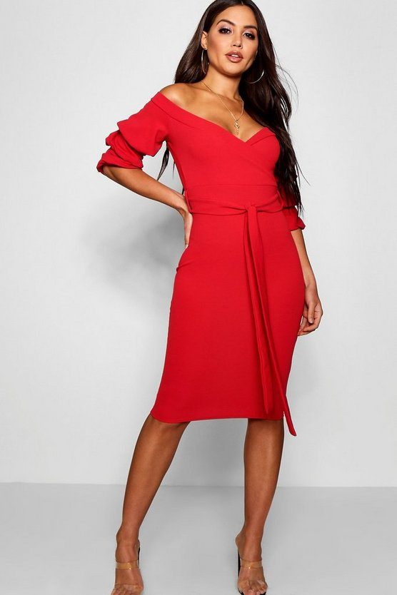 Off the Shoulder Sleeve Detail Midi Dress