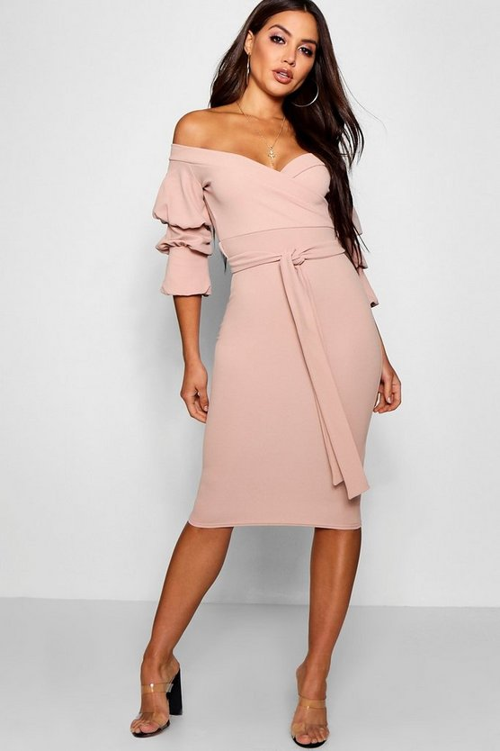 Off the Shoulder Sleeve Detail Midi Dress, Stone, Donna