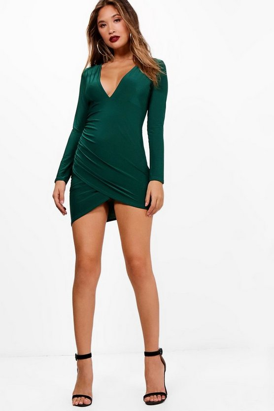 Plunge Neck Long Sleeve Bodycon Dress