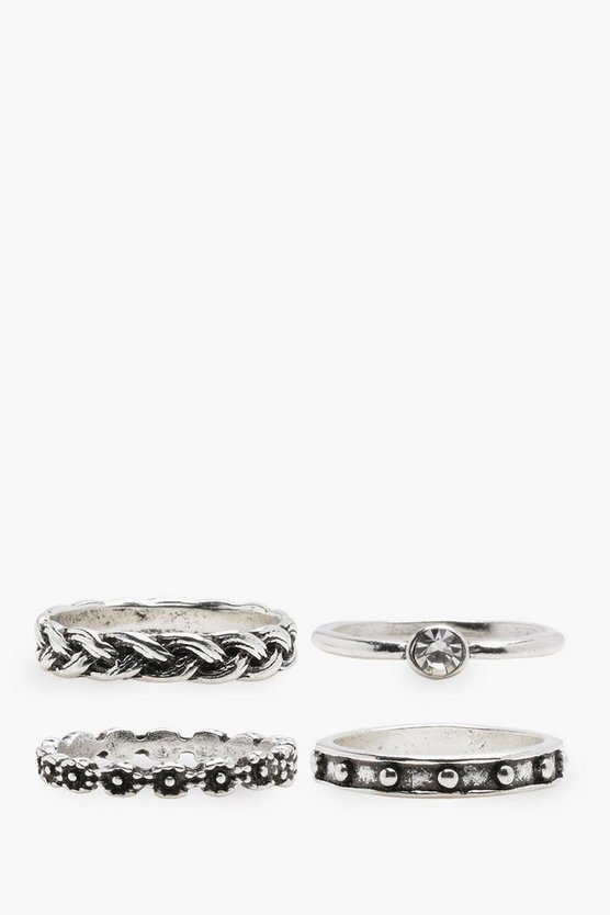 Ruby Gem and Plaited Mixed Ring 4 Pack