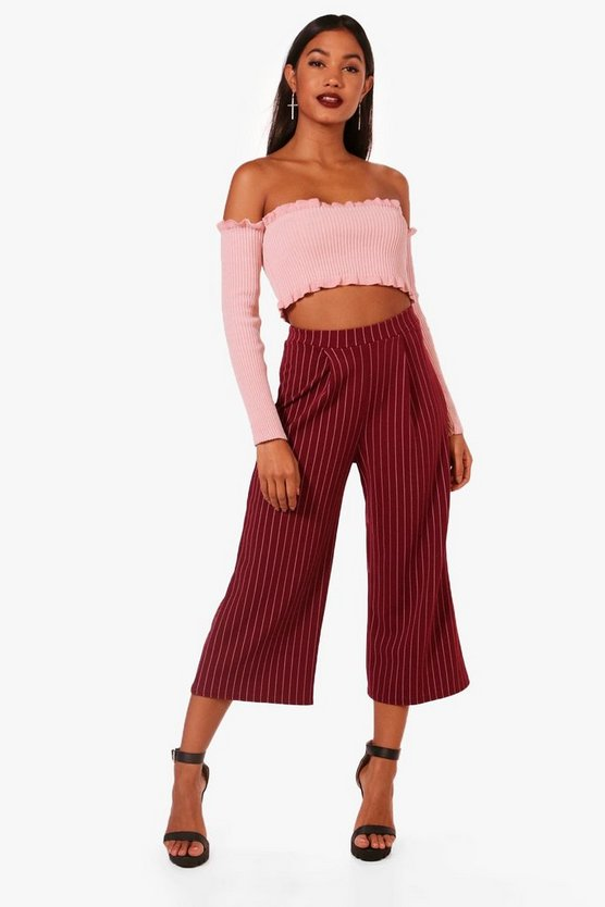 Womens Berry Crepe Pin Stripe Culottes