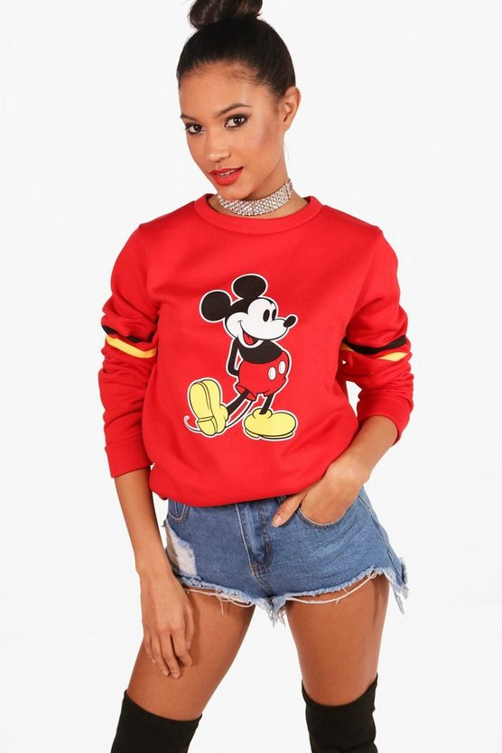 Womens Red Disney Mickey Stripe Sleeve Sweatshirt