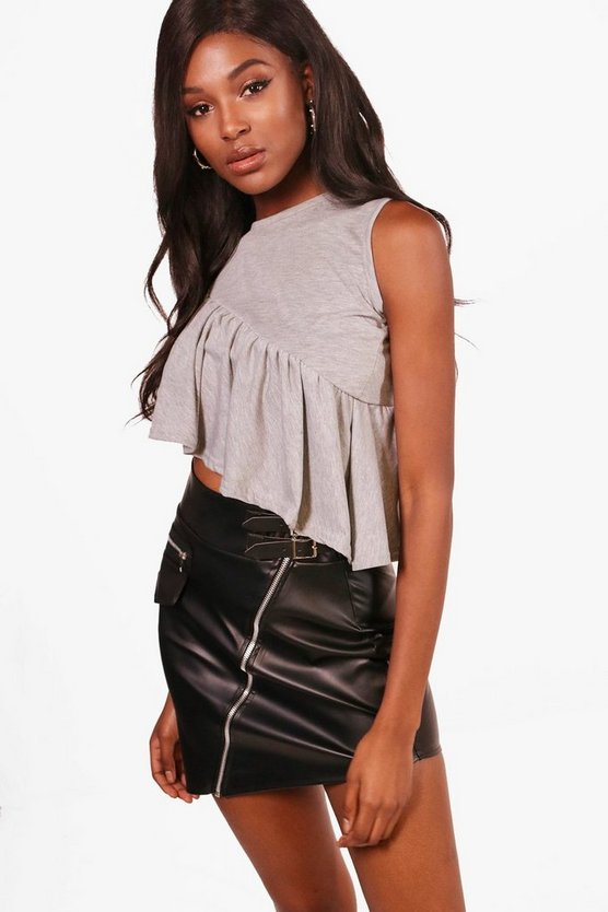 Asymetric Ruffle Crop