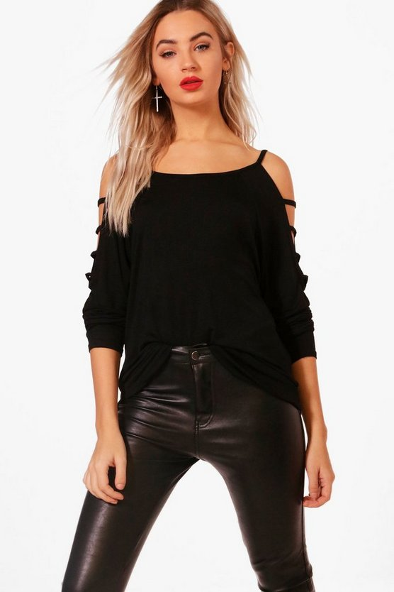 Strappy Sleeve Loose Fit Top, Black, Donna