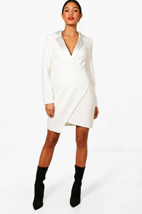 Wrap Over Tuxedo Dress