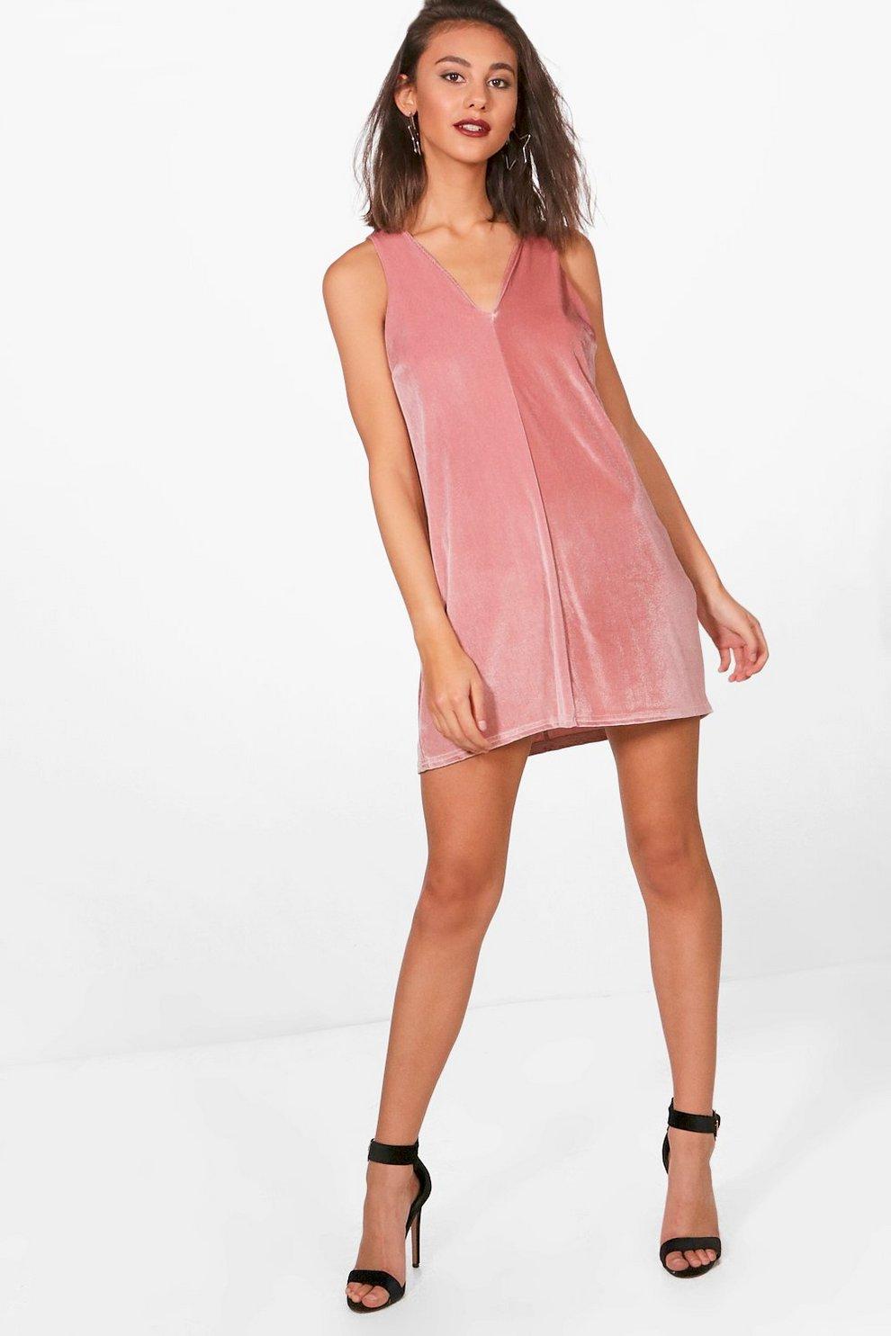 7435070d97 Velvet V-Neck Pinafore Dress