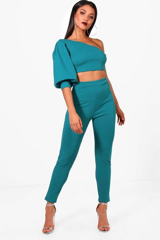 One Shoulder Crop & Skinny Trouser Set