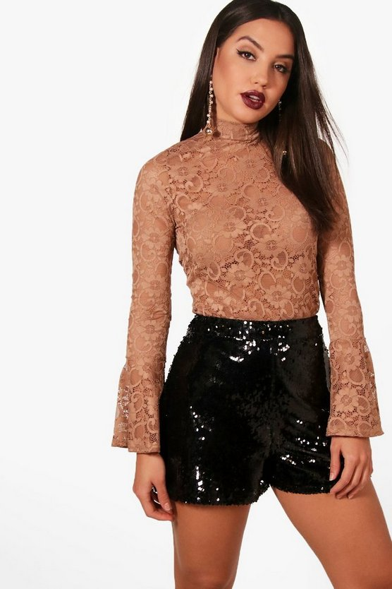 Lace HIgh Neck Flute Sleeve Top
