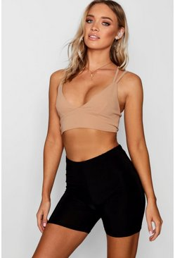 Womens Camel Strappy Back Bralet