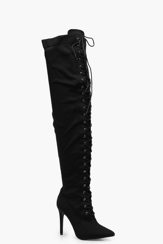 Lace Up Pointed Toe Over the Knee Boots