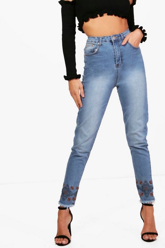 Embroidered Hem Slim Fit Mom Jeans