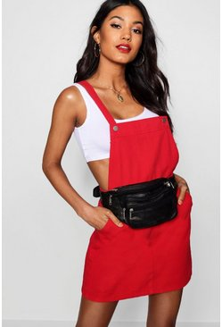 Robe chasuble en denim rouge, Femme