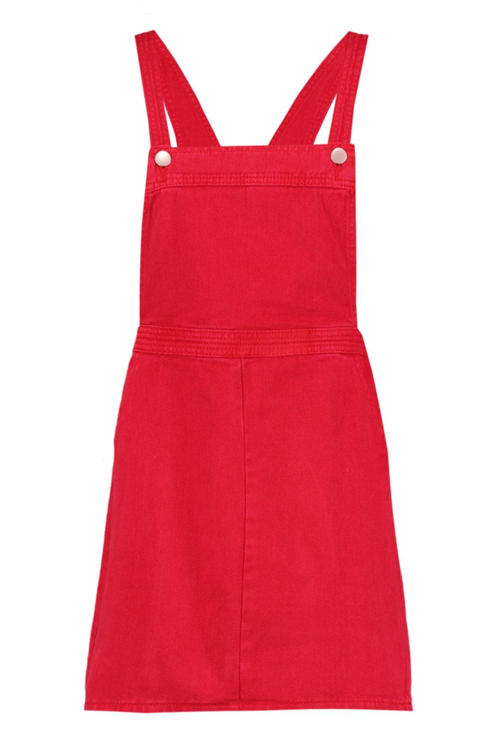 Pinafore red Denim Red Red Dress Pinafore Red Denim Dress red UAwPFc