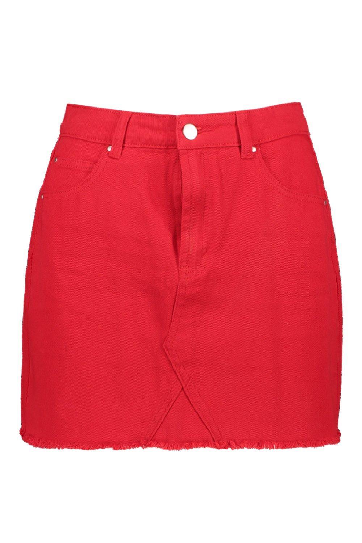 Red Red Denim Mini Denim Mini Red Denim Mini red Skirt Skirt red wBqaY6Ux