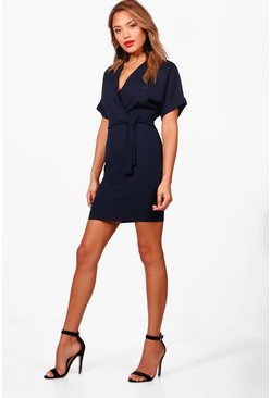 Womens Navy Wrap Over Belted Dress