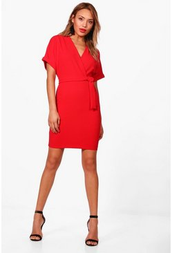 Wrap Over Belted Dress, Red