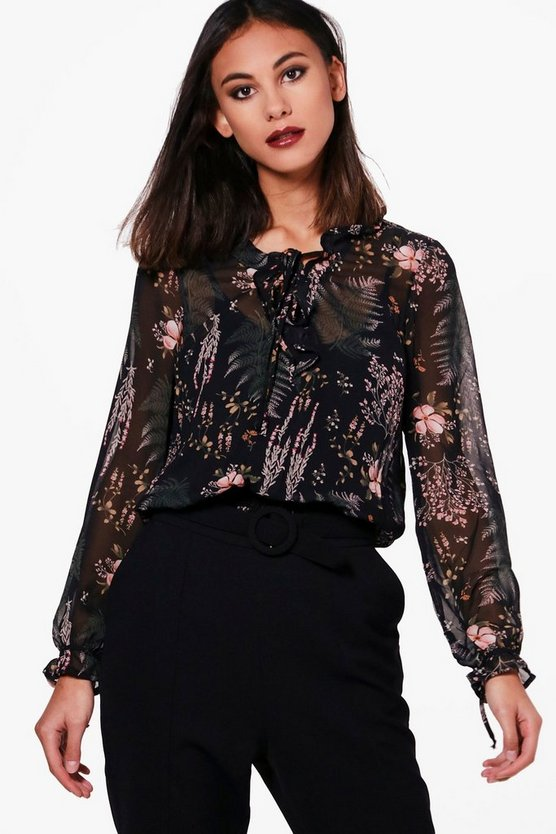 Natalie Frill Printed Blouse