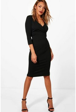 Womens Black Wrap Over Midi Dress