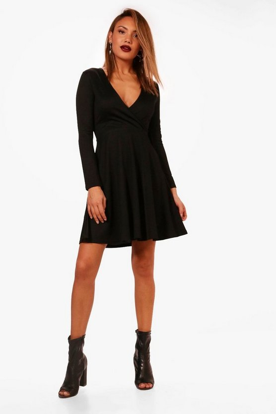Wrap Over Skater Dress