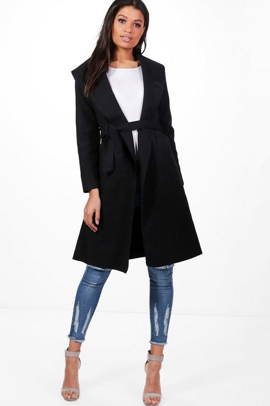 Belted Wool Look Shawl Collar Coat