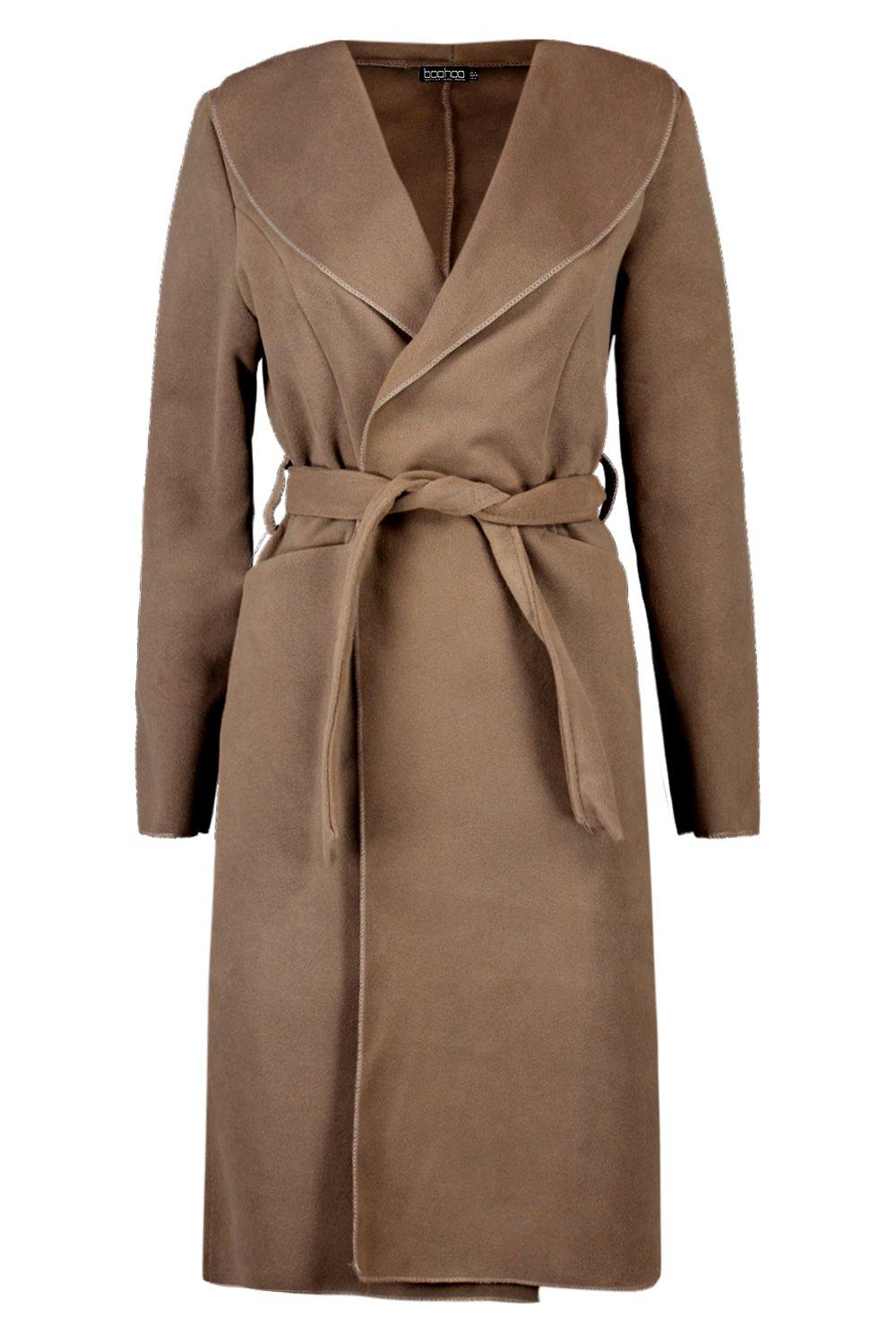 Collar Selecciona Shawl Coat Wool Belted Look TxzZtAnX