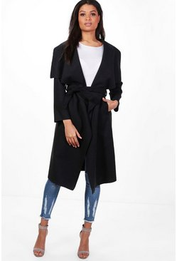 Black Belted Waterfall Coat
