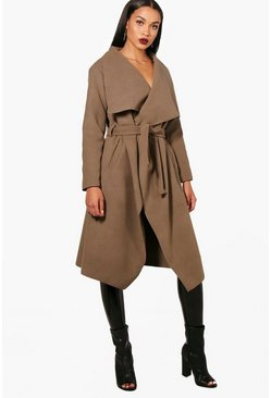 Womens Mocha Belted Waterfall Coat