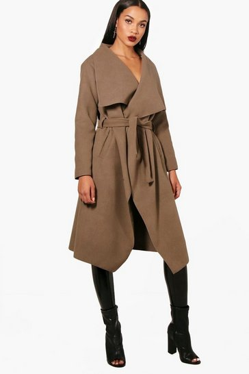 Mocha Belted Waterfall Coat