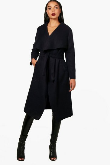Navy Belted Waterfall Coat