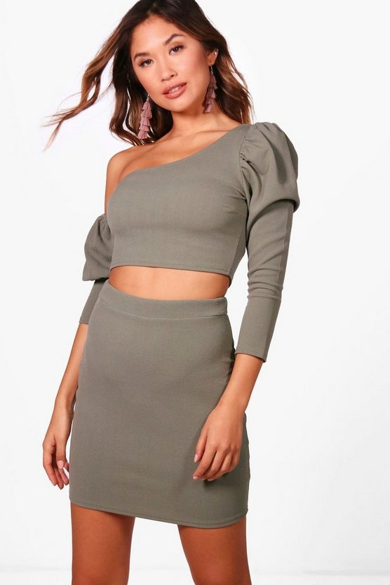 One Shoulder Crop and Skirt Set