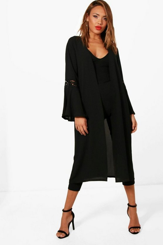 Poppy Crochet Trim Flute Sleeve Duster, Black, Donna