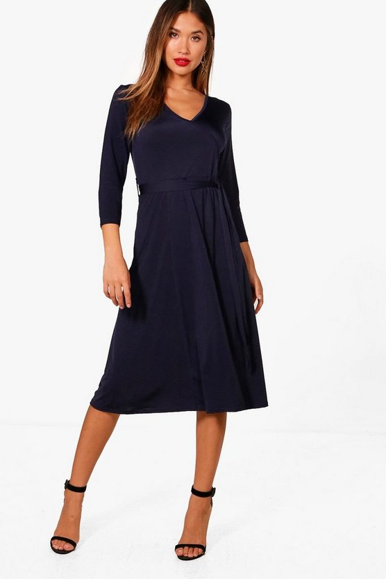 Zoe 3/4 Sleeve Wrap Over Dress