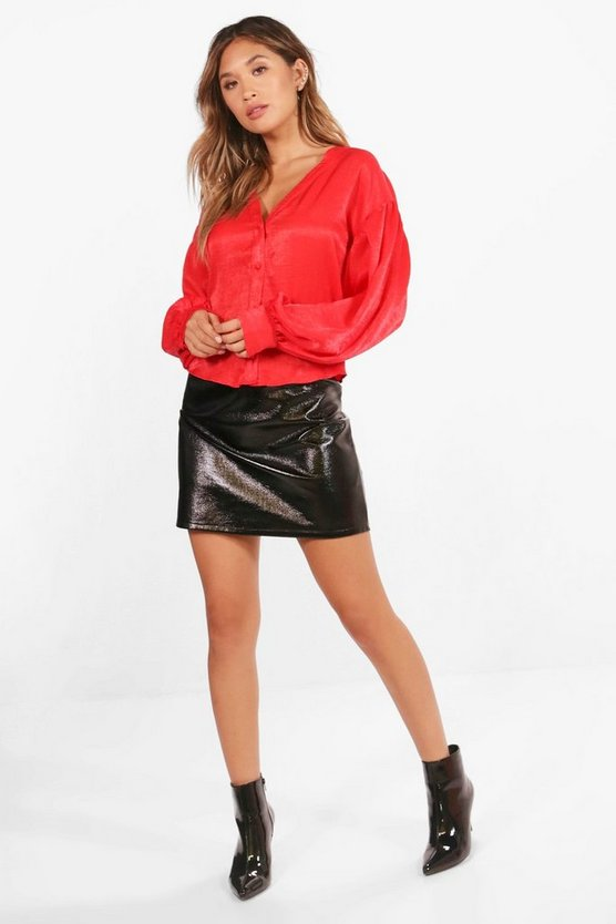 Balloon Sleeve Satin Blouse