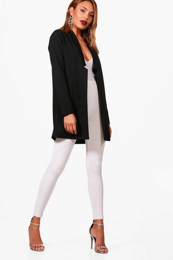 Notch Neck Detail Oversized Boyfriend Blazer