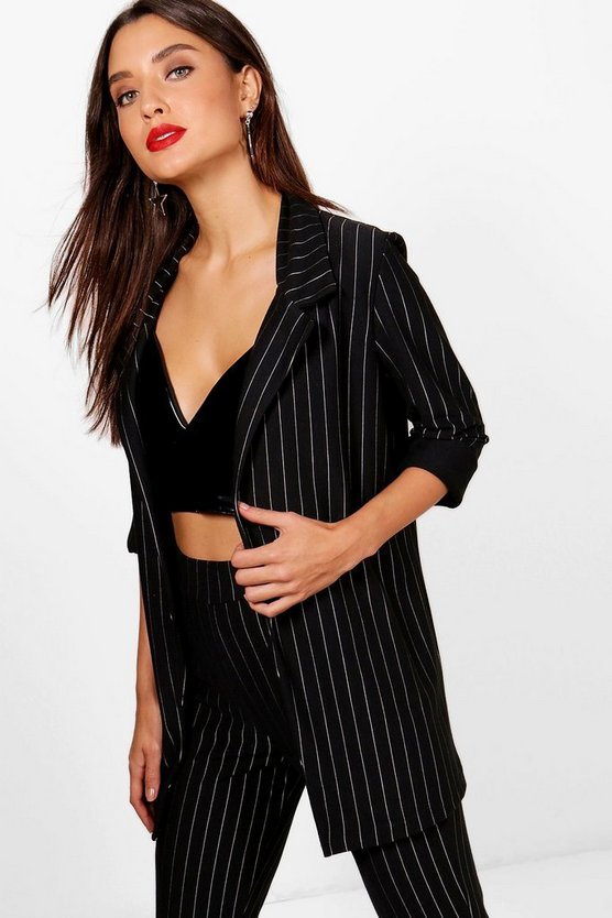 Womens Black Chaise Pinstripe Oversized Blazer