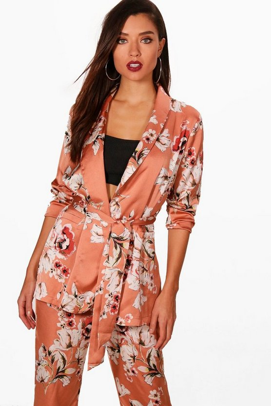 Mia Floral Print Belted Jacket