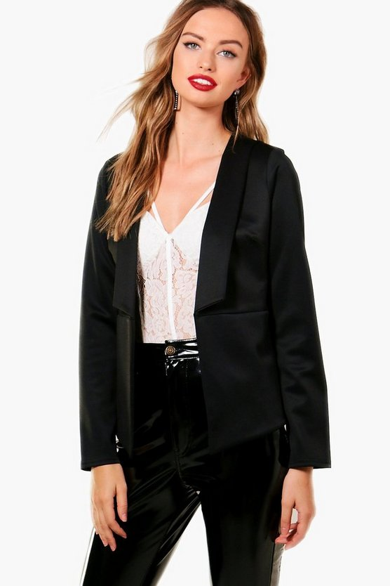 Womens Black Skyla Collared Scuba Blazer