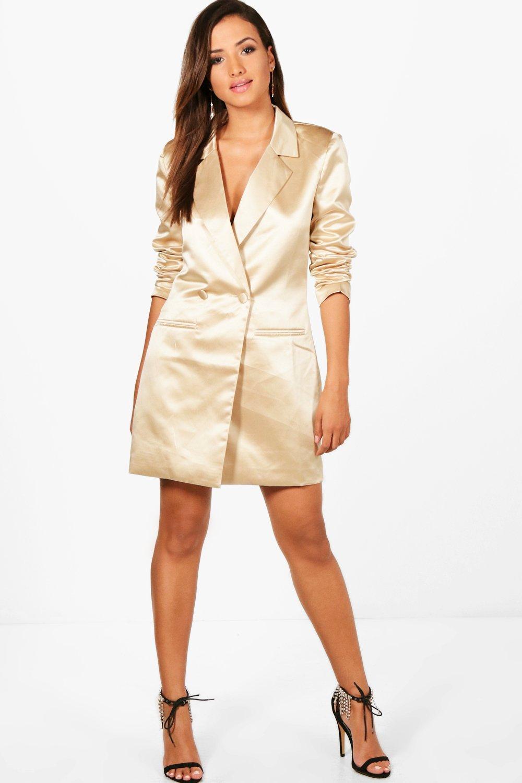 cef3a809dc666 Boohoo Womens Louise Metallic Blazer Dress in Gold size 8