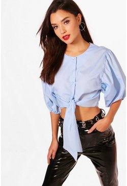 Womens Tie Front Puff Sleeve Shirt