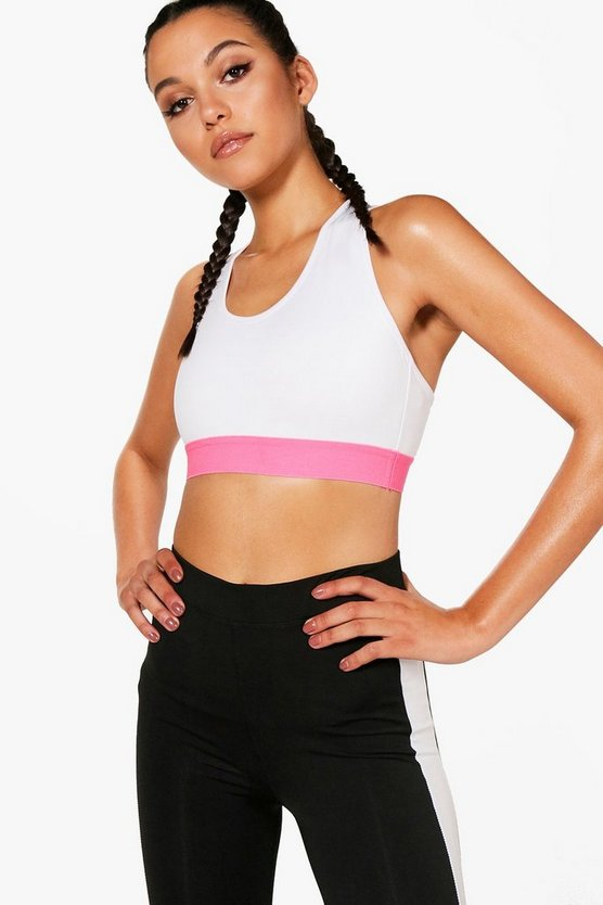 Fit Contrast Cross Back Sports Bra