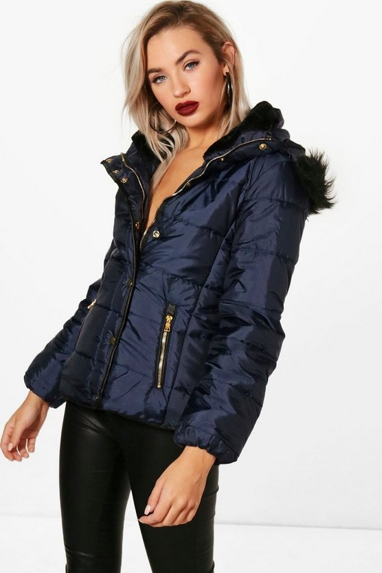 Navy Quilted Faux Fur Trim Jacket