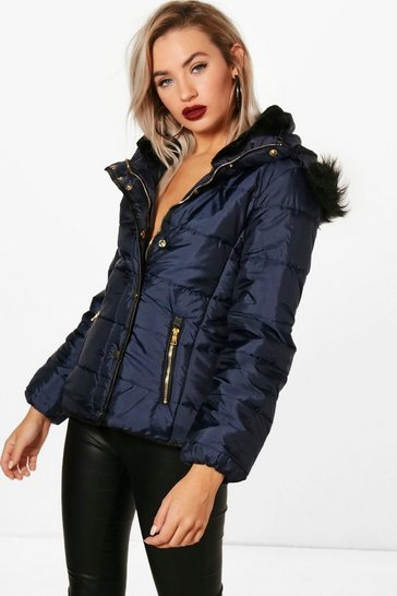 Womens Navy Quilted Faux Fur Trim Jacket