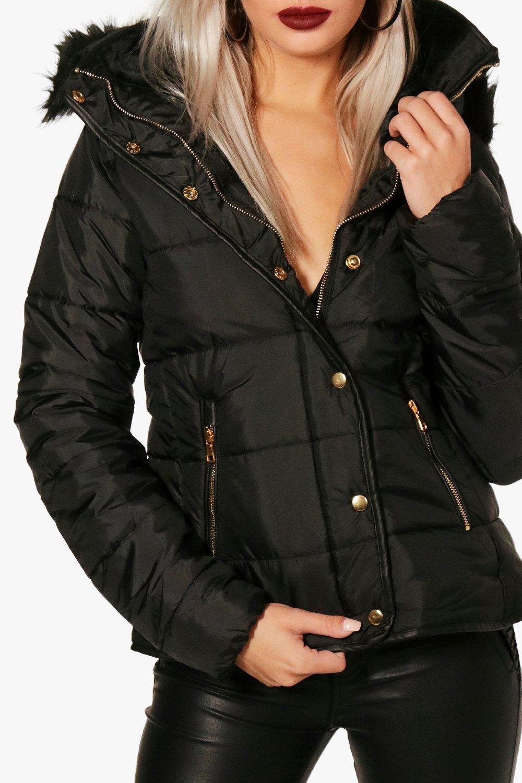 Quilted Fur navy Trim Faux Jacket wRwqTP7