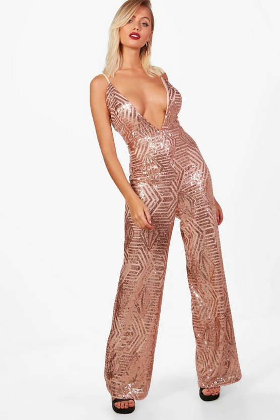 Sequin Plunge Wide Leg Jumpsuit