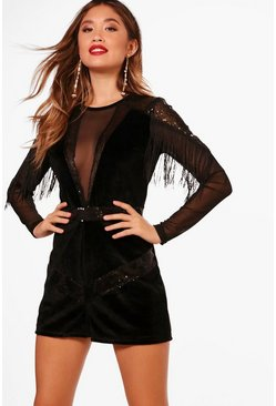 Womens Black Velvet Tassel Trim Playsuit