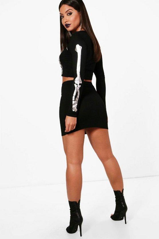 Halloween Imy Skeleton Crop and Skirt Set