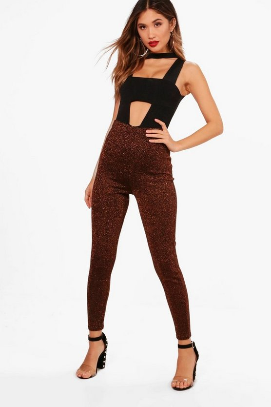 Metallic Knitted High Waist Leggings