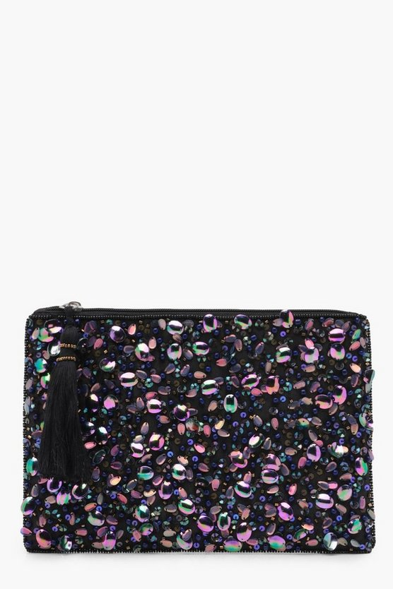 Womens Black Holographic Sequin Zip Top Clutch